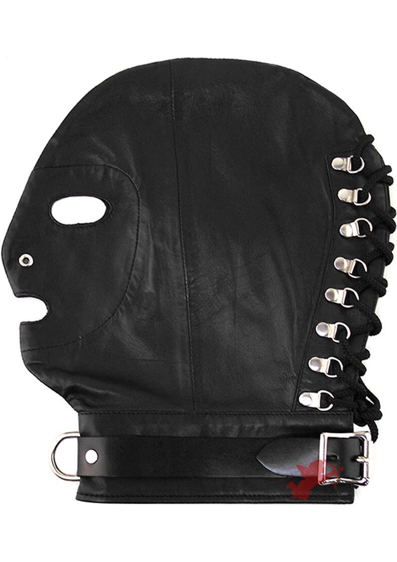 Rouge Mask With D Ring And Lock Strap Leather And Metal Black