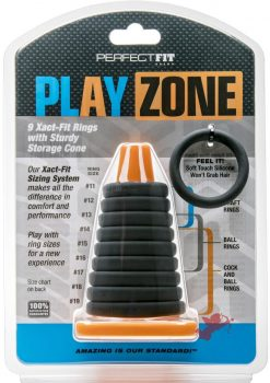 Play Zone 9 Xact-Fit Rings With Sturdy Storage Cone Silicone Set Black