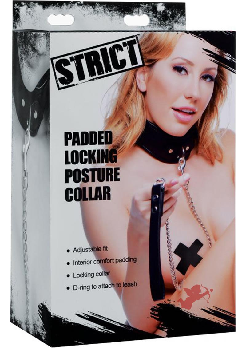 Strict Padded Locking Posture Collar With Leash Black