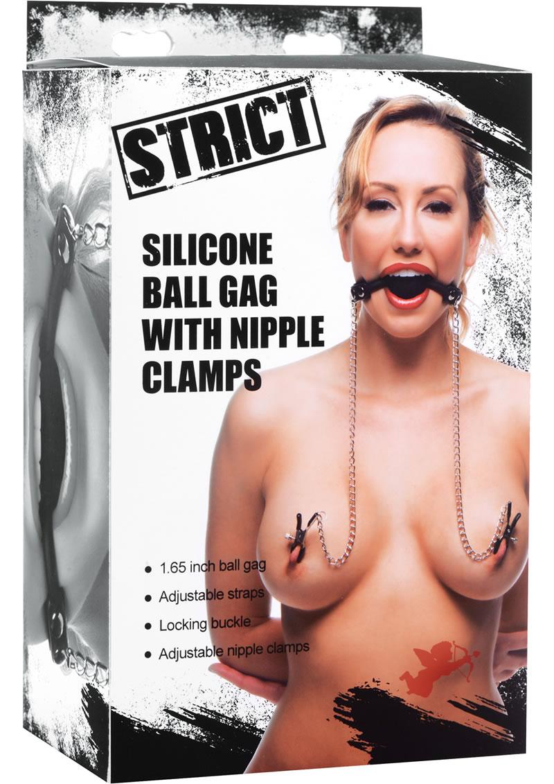 Strict Silicone Ball Gag & Nipple Clamps