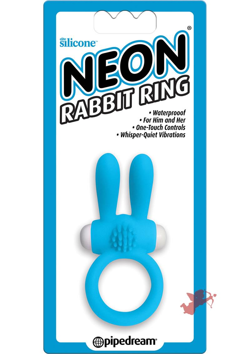 Neon Silicone Rabbit Ring Waterproof Blue