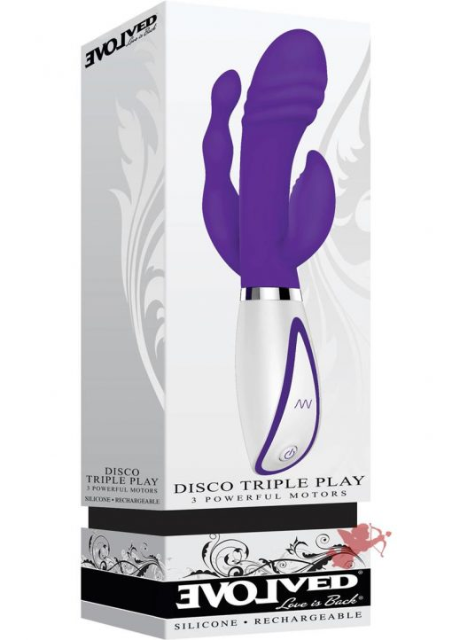 Disco Triple Play 3 Motors Rechargeable Silicone Vibe Waterproof Purple