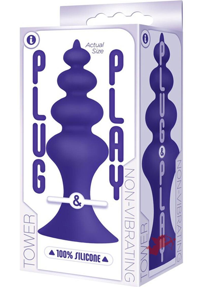 Plug and Play Tower Silicone Butt Plug Waterproof Plum