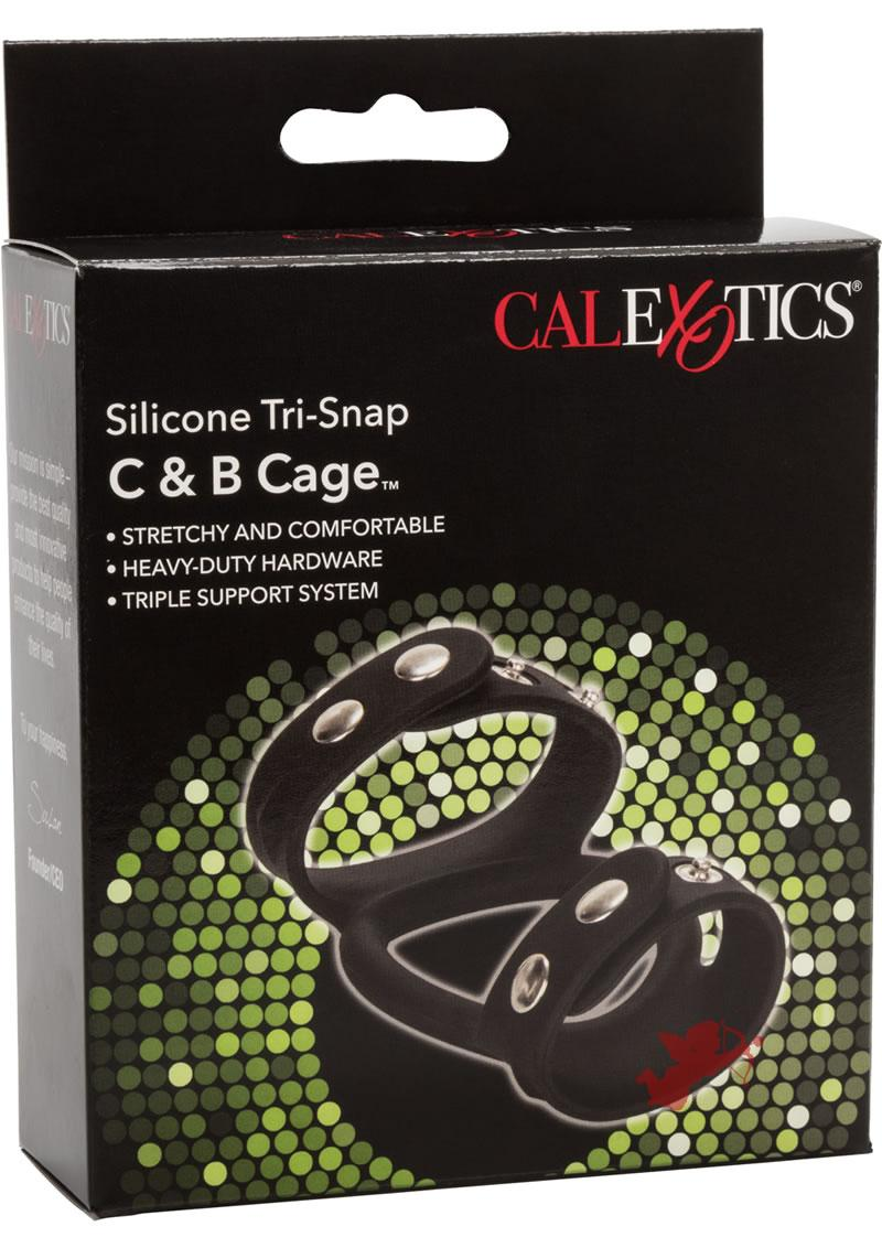 Silicone Tri-Snap Cock and Ball Cage Black