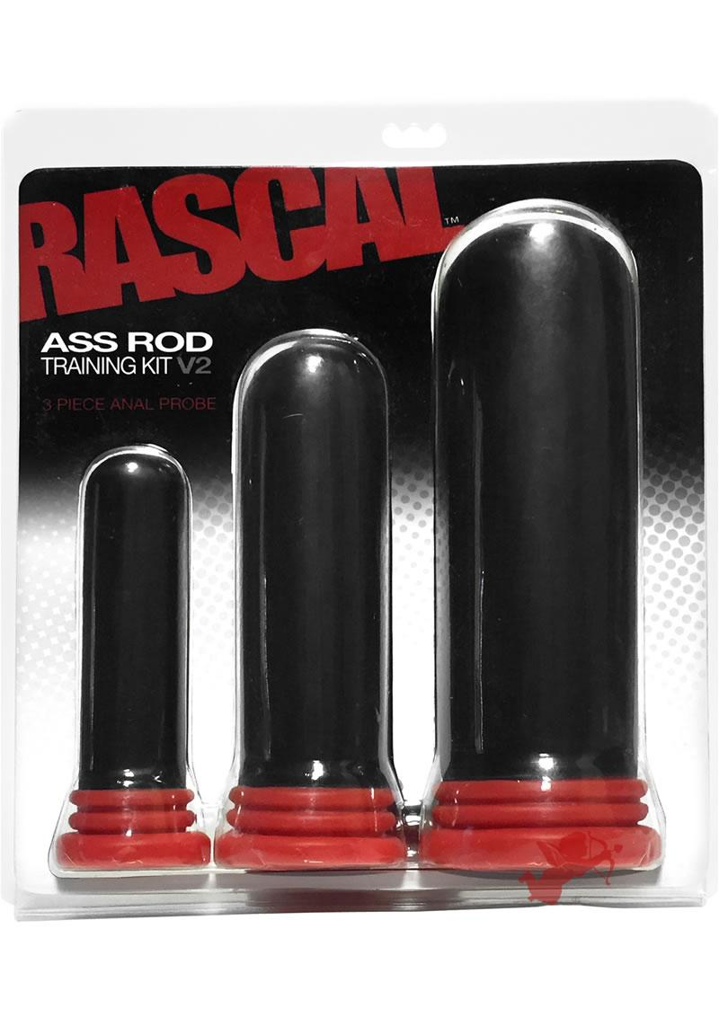 Rascal Ass Rod Training Kit V2 Anal Probe Black And Red 3 Each Per Kit