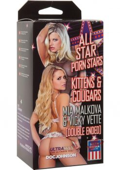 All Star Porn Stars Kitten and Cougar Mia Malkova and Vicky Vette Double End Pussy and Mouth Stroker