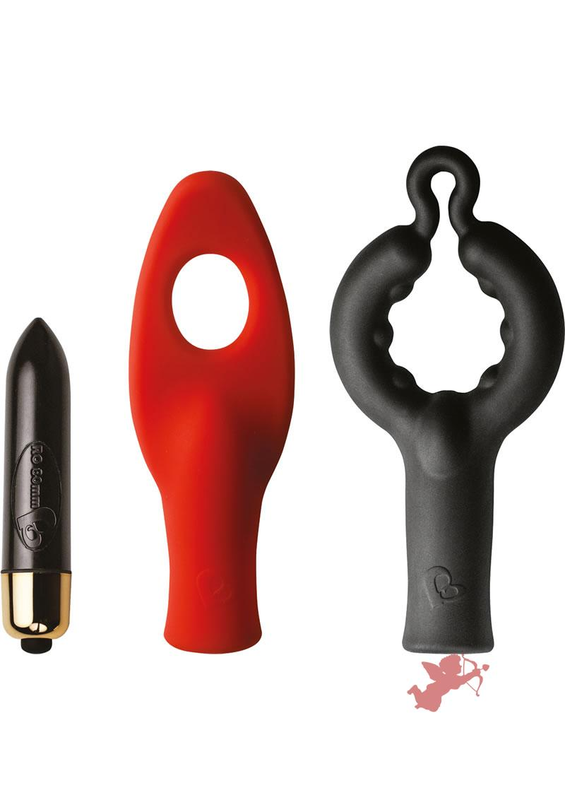 Feranti Couples Fun Teaze N Pleaz Set Silicone Waterproof Black Red And Gold