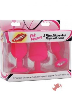 Frisky Pink Pleasure 3 Piece Anal Plugs With Gems Silicone Pink