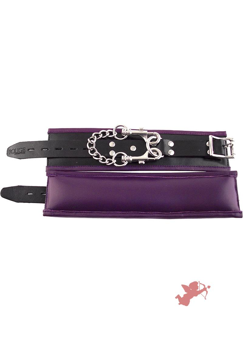 Rouge Padded Leather Wrist Cuffs Black And Purple