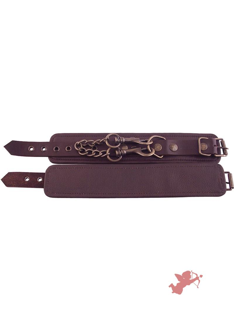 Rouge Plain Leather Wrist Cuffs Brown
