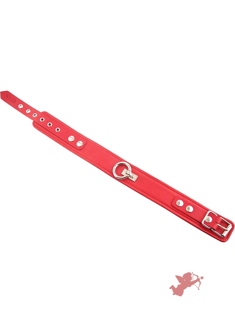 Rouge Plain Leather Collar Red