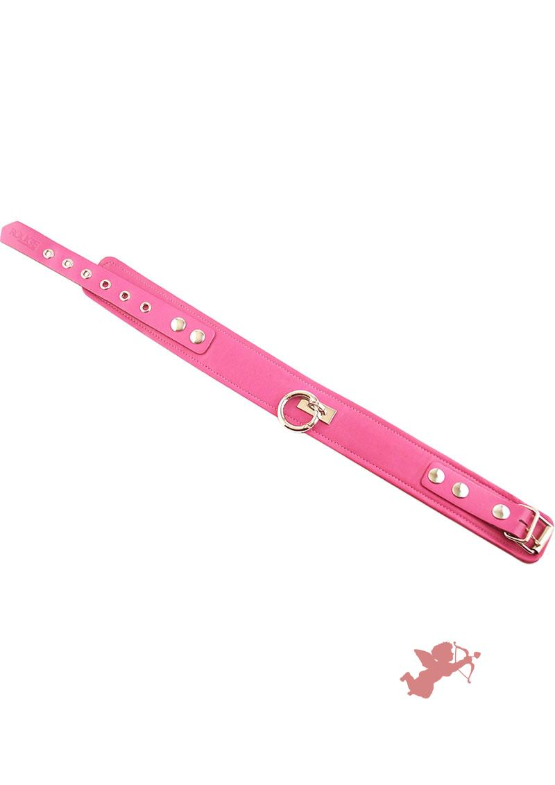 Rouge Plain Leather Collar Pink