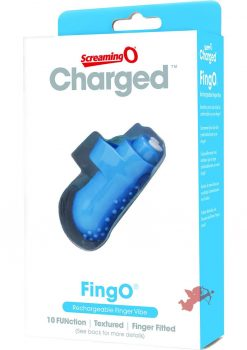 Charged FingO Rechargeable Finger Vibe Waterproof Blue