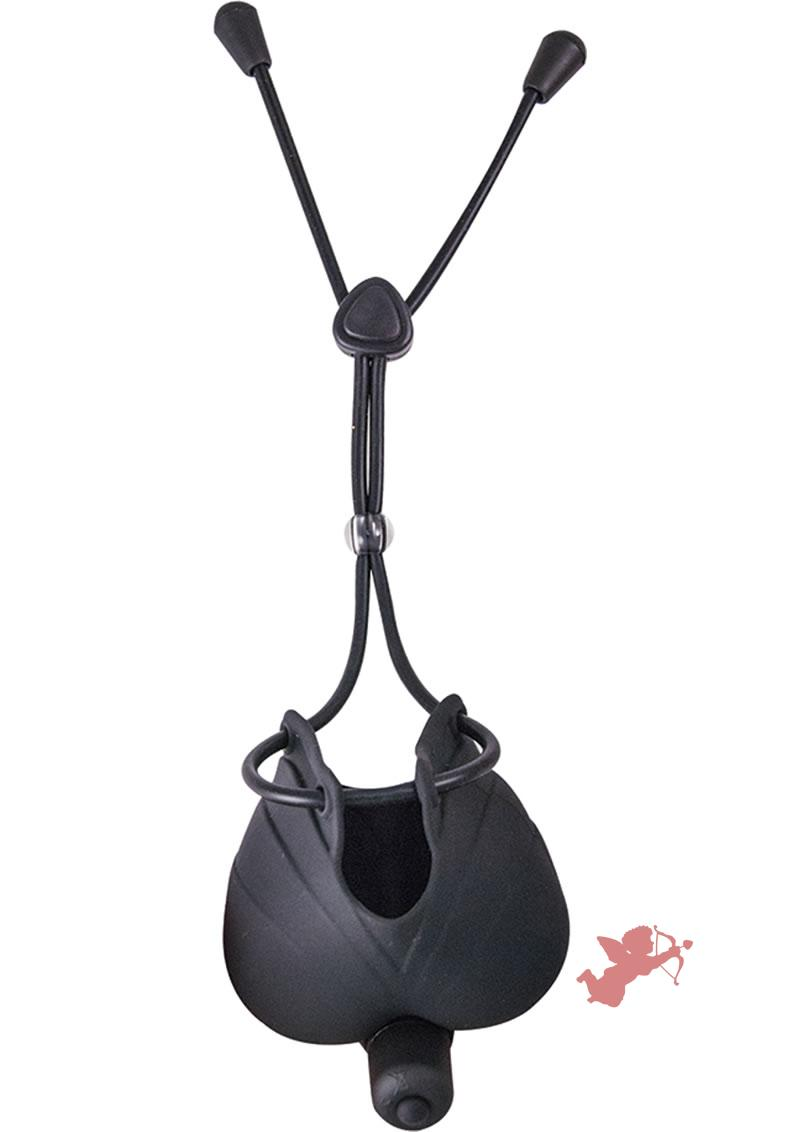 My Cock Ring Vibrating Scrotum Pouch And Cinch Silicone Black
