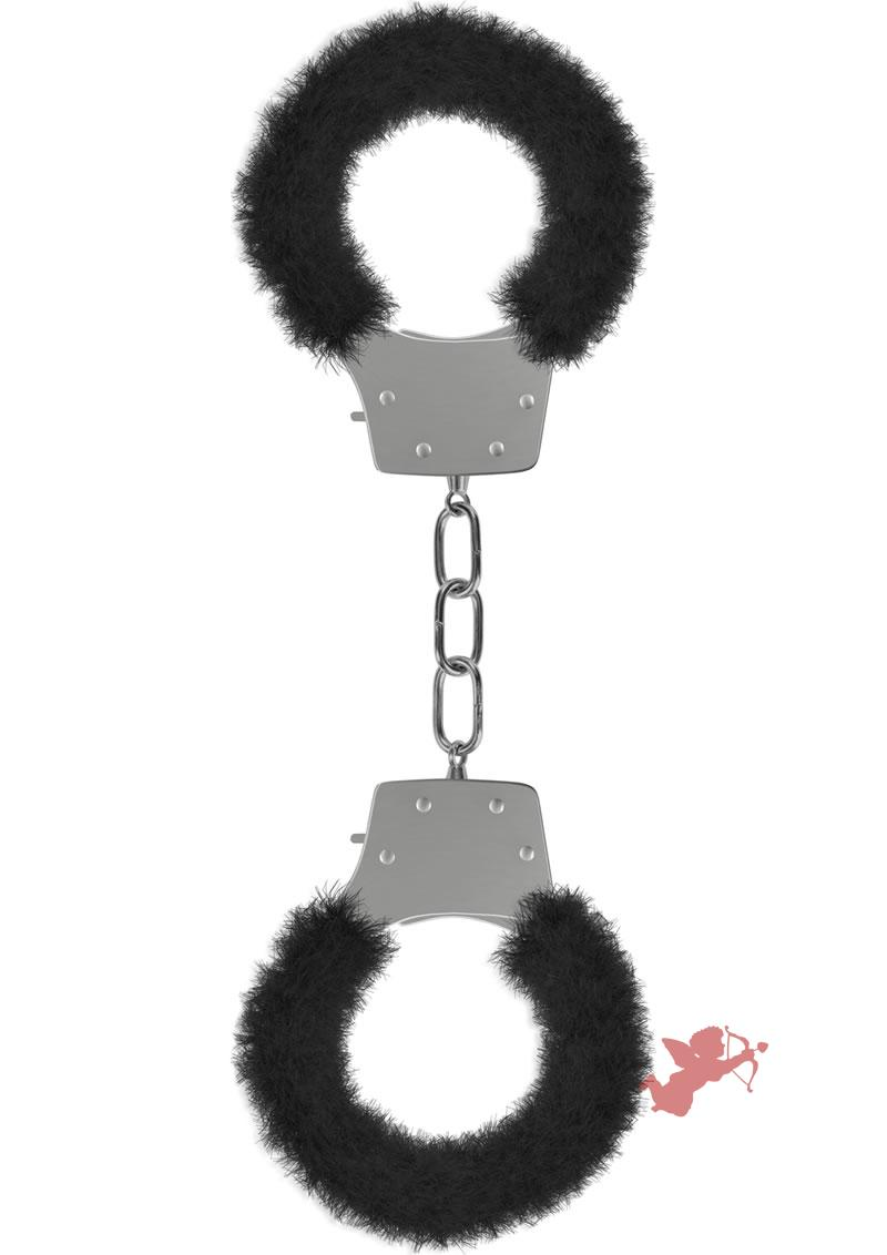 Ouch! Pleasure Furry Handcuffs Black And Silver