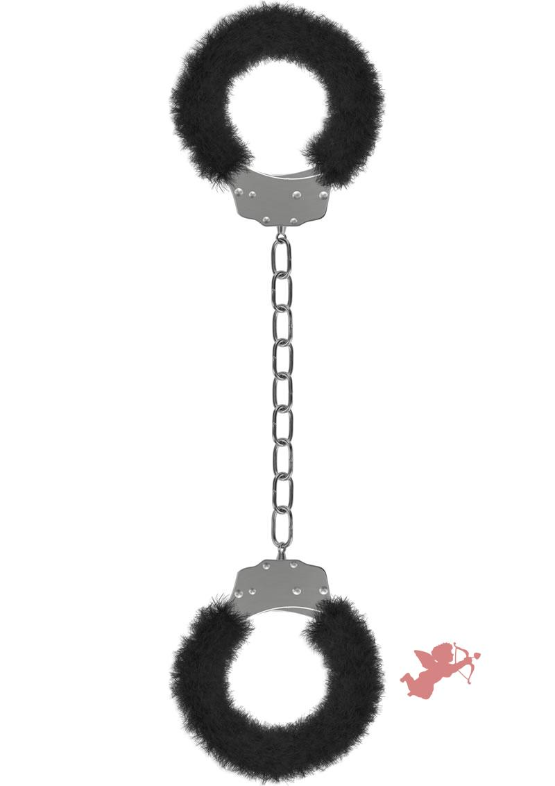 Ouch! Beginner's Furry Legcuffs Black And Metal