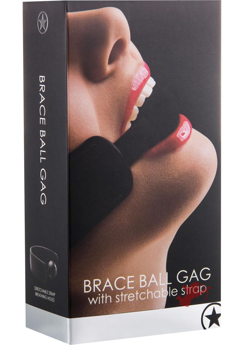 Ouch! Brace Ball Gag With Stretchable Strap Black