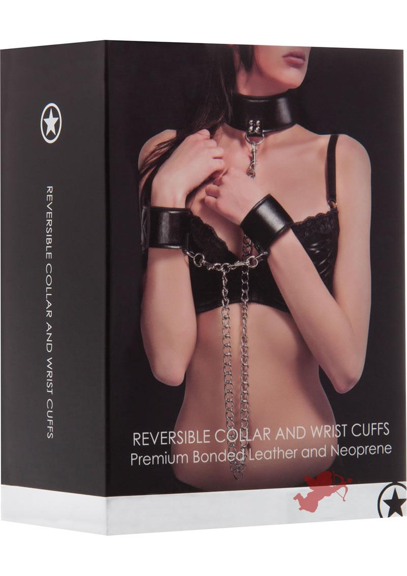 Ouch! Leather Reversible Collar And Leather Wrist Cuffs Black