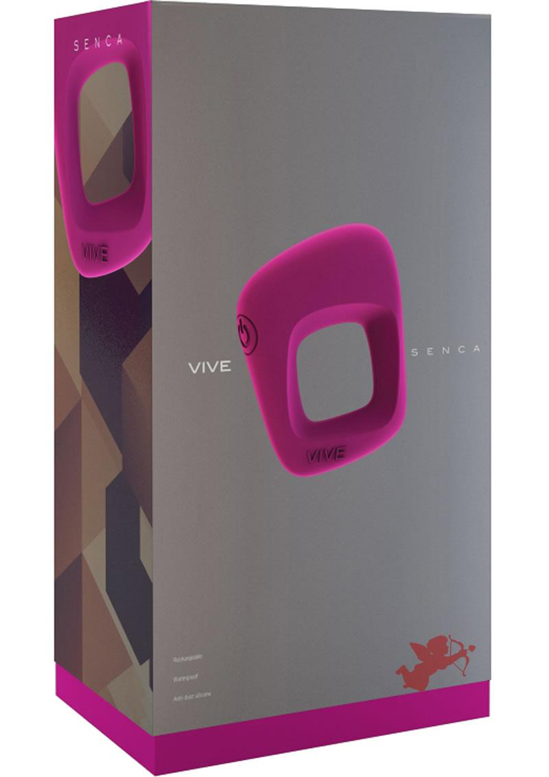 Vive Senca Silicone USB Rechargeable Cockring Waterproof Pink