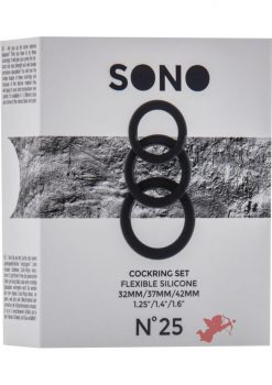 Sono No 25 Cockring Set Flexible Silicone Black
