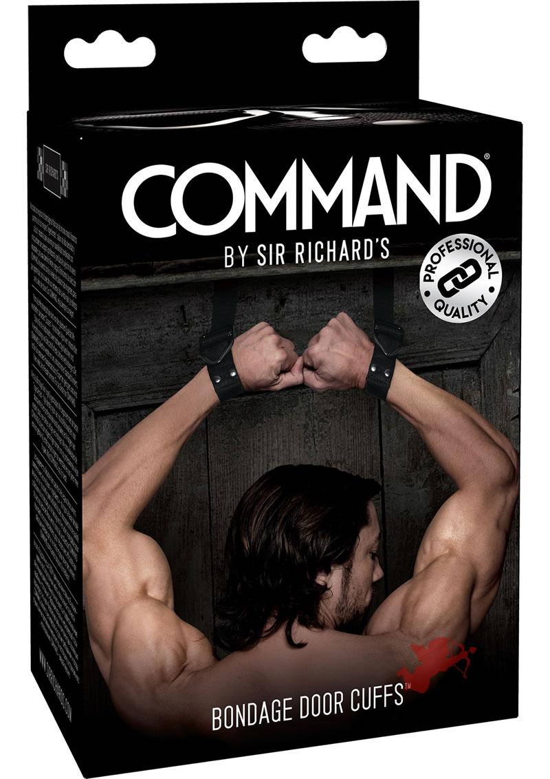 Sir Richard's Command Bondage Door Cuffs Black Stainless Steel