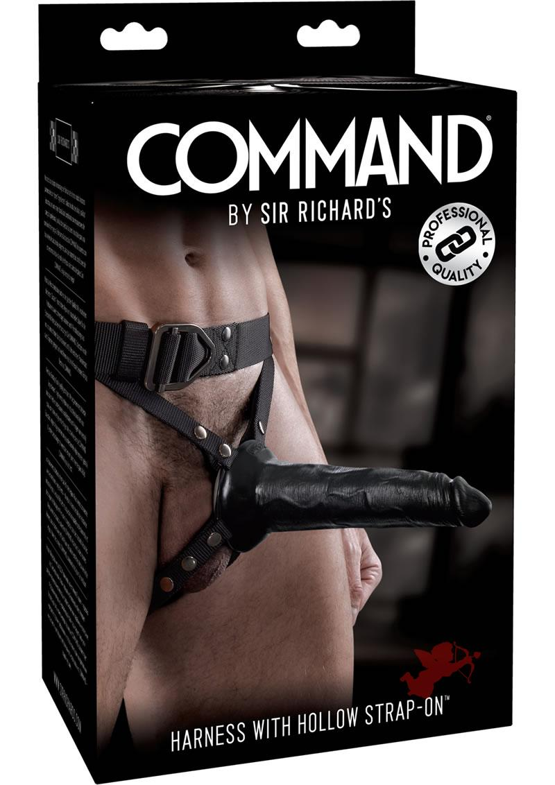 Sir Richard's Command Harness With Hollow Strap-On Dong Black 8 Inch