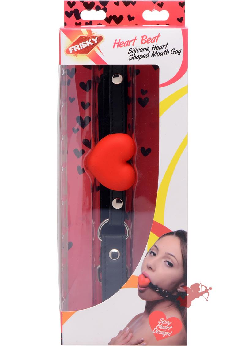 Frisky Heart Beat Silicone Heart Shaped Mouth Gag With Adjustable Strap Red And Black