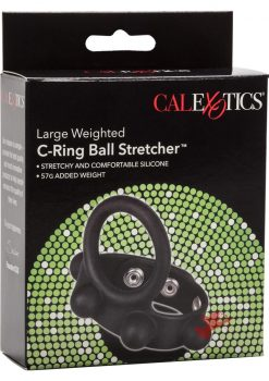 Large Weighted C-Ring Ball Stretcher Silicone Cockring Black