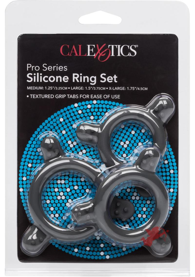 Pro Series Silicone Ring Set Grey 3 Sizes Per Pack