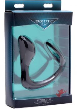 Prostatic Play Explorer 2 Prostate Stimulator And Cock Ring Silicone Black