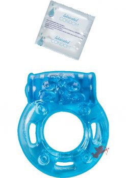 Vibrating Ring With Lubricated Condom Clitoral Pleasure Ring Blue