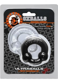 Ultraballs 2 Pack Cockring Back And Clear