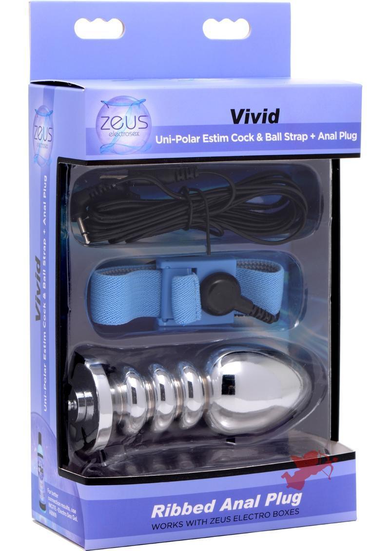 Zeus Vivid E-stim Cock and Ball With Plug