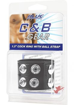 C & B Gear Cock Ring 1.5  With Ball Strap