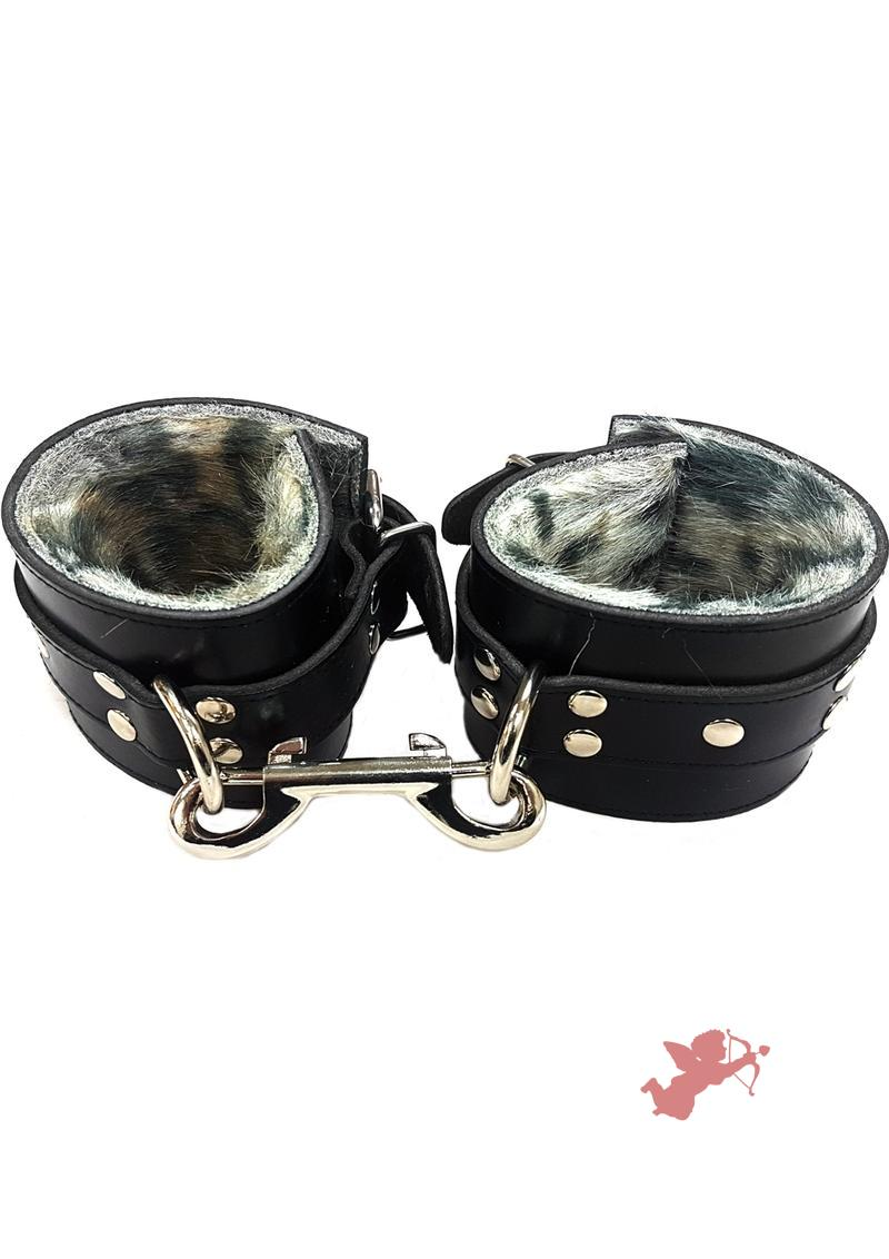 Rouge Fur Wrist Cuffs Leopard Print And Black Leather