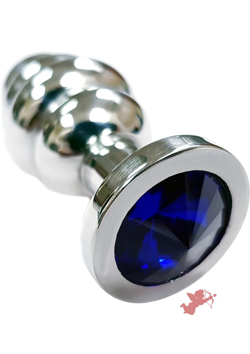 Rouge Jewelled Threaded Anal Butt Plug Small Stainless Steel Royal Blue Jewel