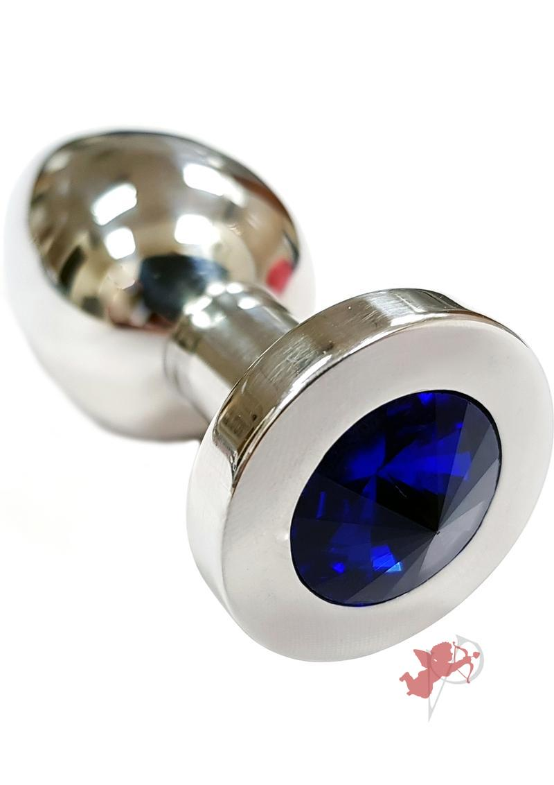 Rouge Jewelled Anal Butt Plug Medium Stainless Steel Royal Blue Jewel