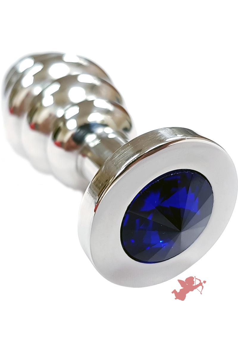 Rouge Jewelled Threaded Anal Butt Plug Medium Stainless Steel Royal Blue Jewel