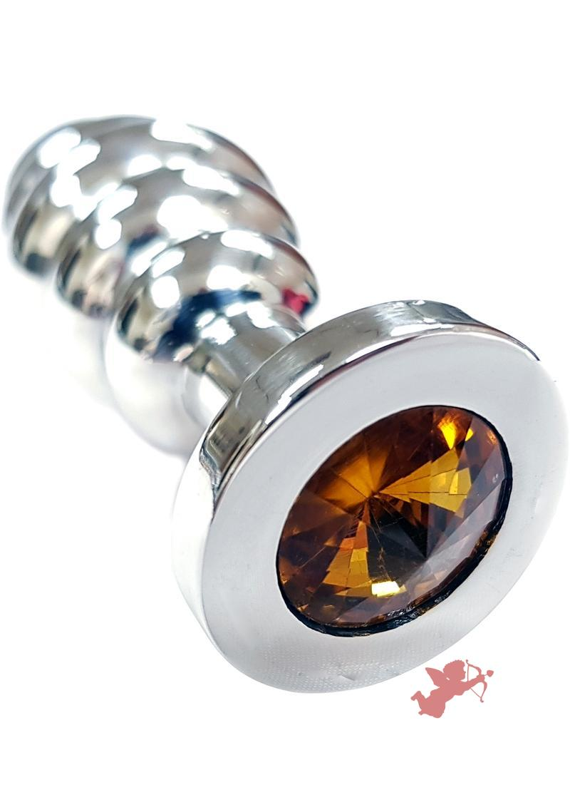 Rouge Jewelled Threaded Anal Butt Plug Medium Stainless Steel Yellow Jewel