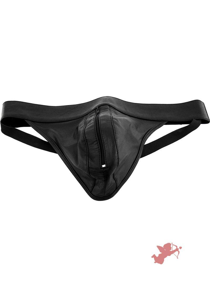 Rouge Leather Zip Jocks Black Large