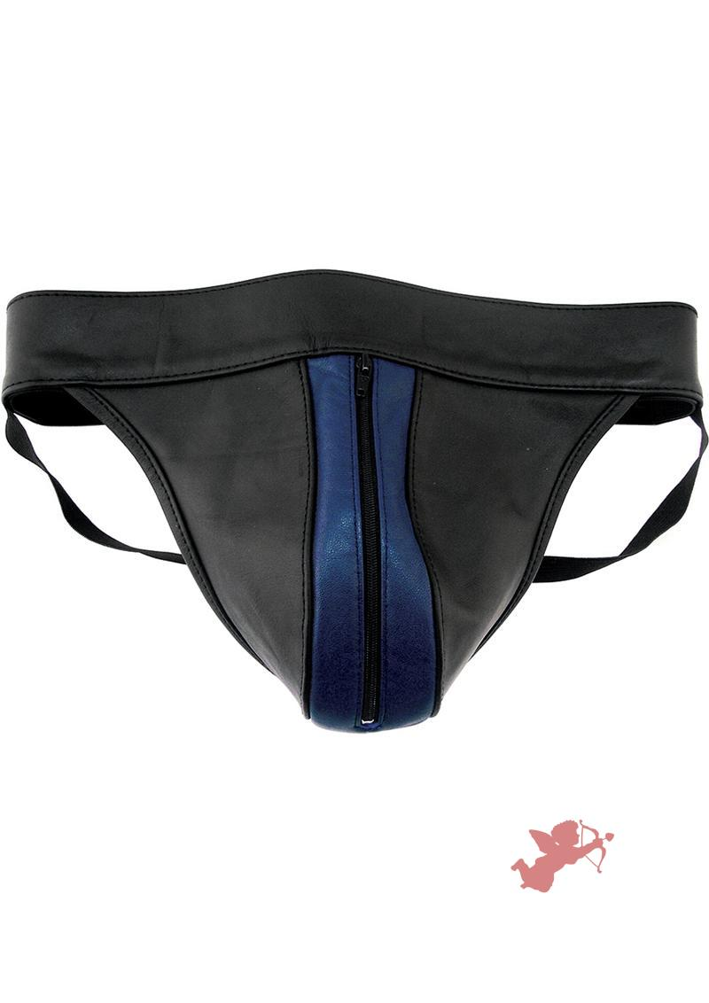 Rouge Leather Zip Jocks Black And Blue Medium