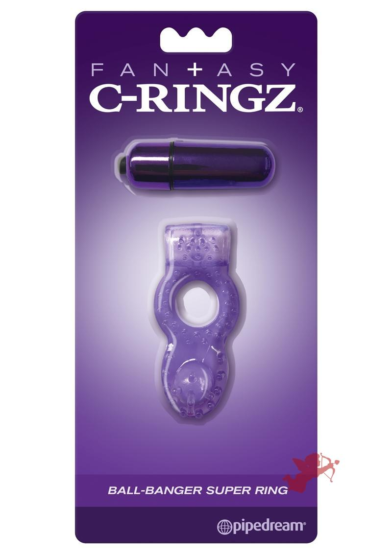 Fantasy C-Ringz Ball-Banger Super Ring Vibrating Textured Cockring Waterproof Purple