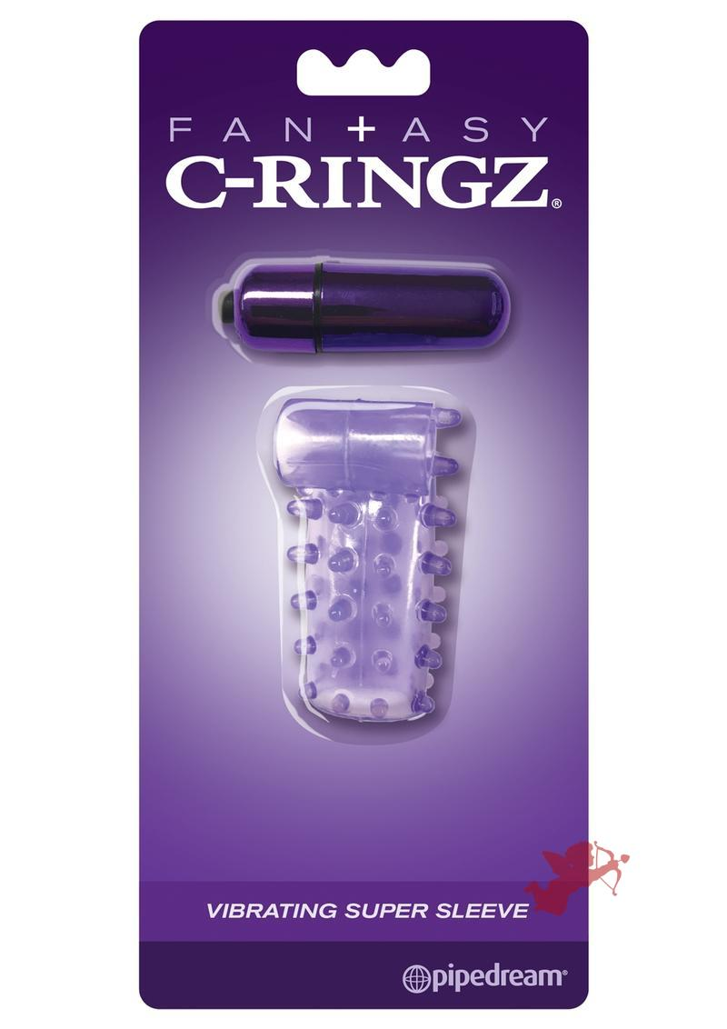 Fantasy C-Ringz Vibrating Super Sleeve Textured Cock Sleeve Showerproof Purple