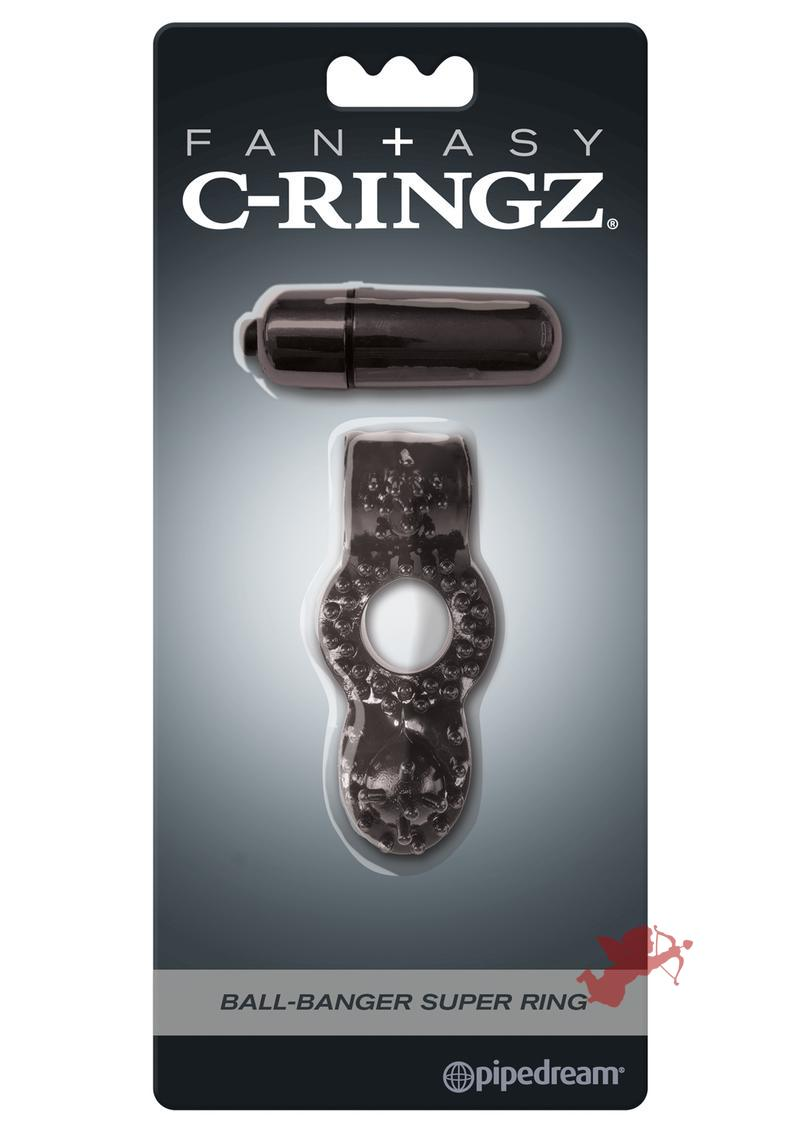 Fantasy C-Ringz Ball-Banger Super Ring Vibrating Textured Cockring Waterproof Black