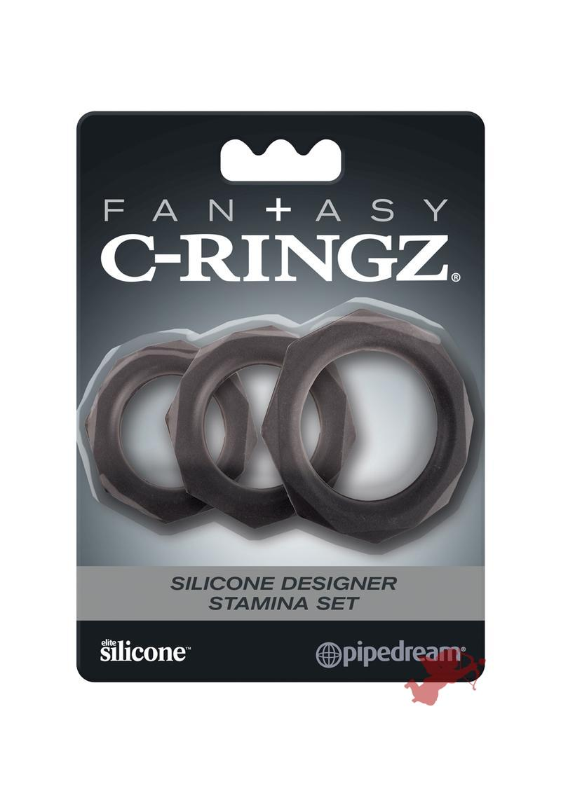 Fantasy C Ringz Silicone Stamina Set Black 3 Sizes Per Set