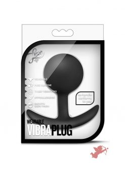 Luxe Wearable VibraPlug Silicone Duo Tone Anal Plug Black 3.5 Inch