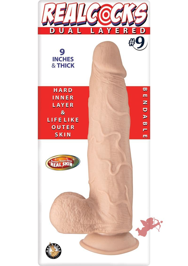 Realcocks Dual Layered 09 Bendable Dildo Waterproof Flesh 9 Inch