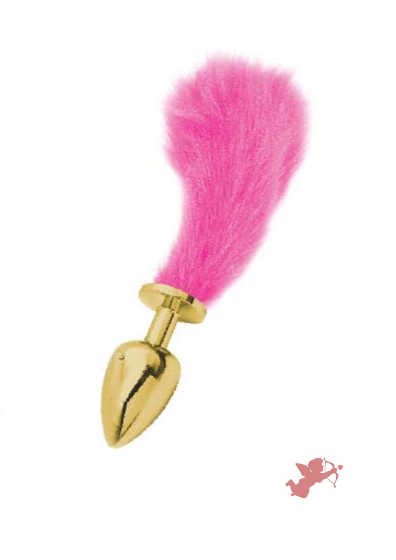 Athena Small Gold Plug with Short Pink Tail