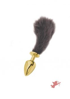 Athena Small Gold Plug with Short Black Tail
