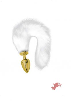 Artemis Lrg Gold Plug with Long White Tail